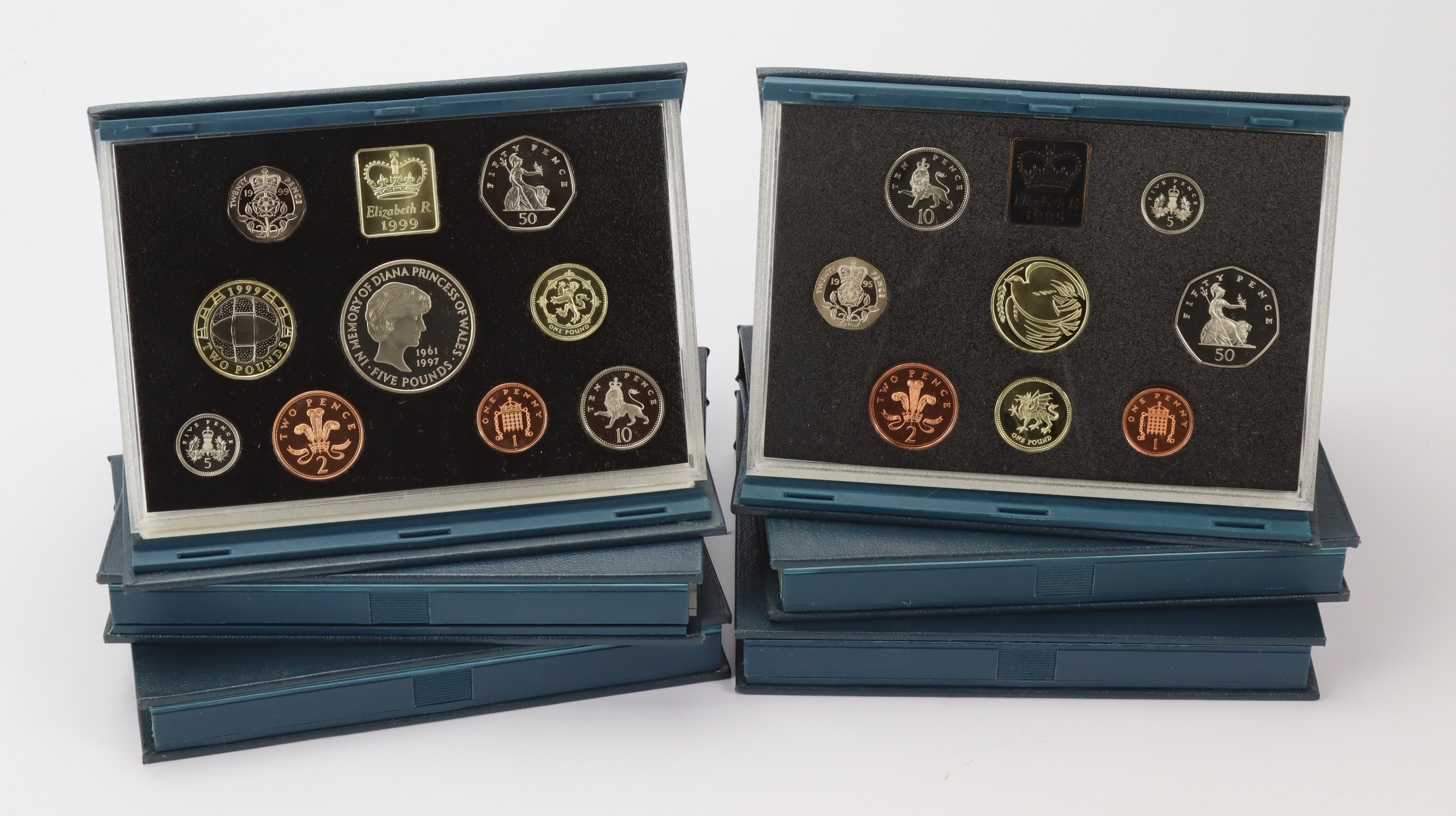 GB Proof Sets (6) 'standard blue': 1991, 1992, 1994, 1995, 1996, and 1999, all with certs.