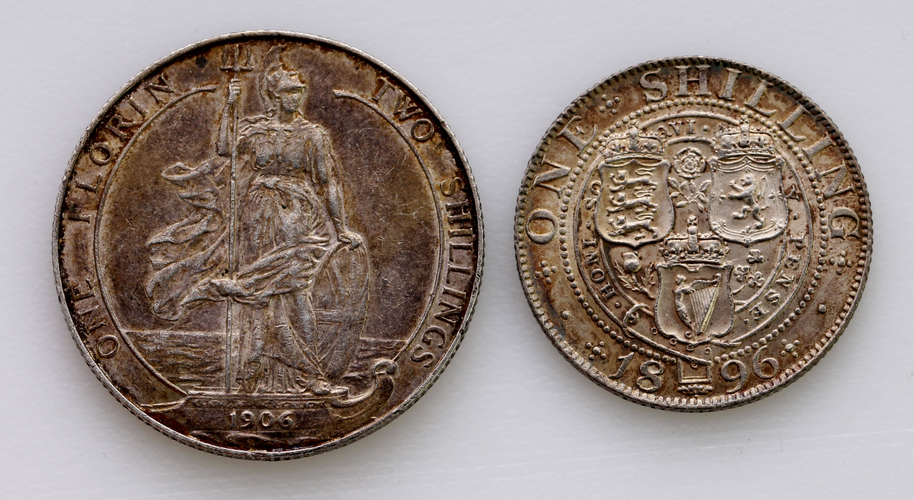 Shilling 1896 iridescent EF, and Florin 1906 VF - Image 2 of 2