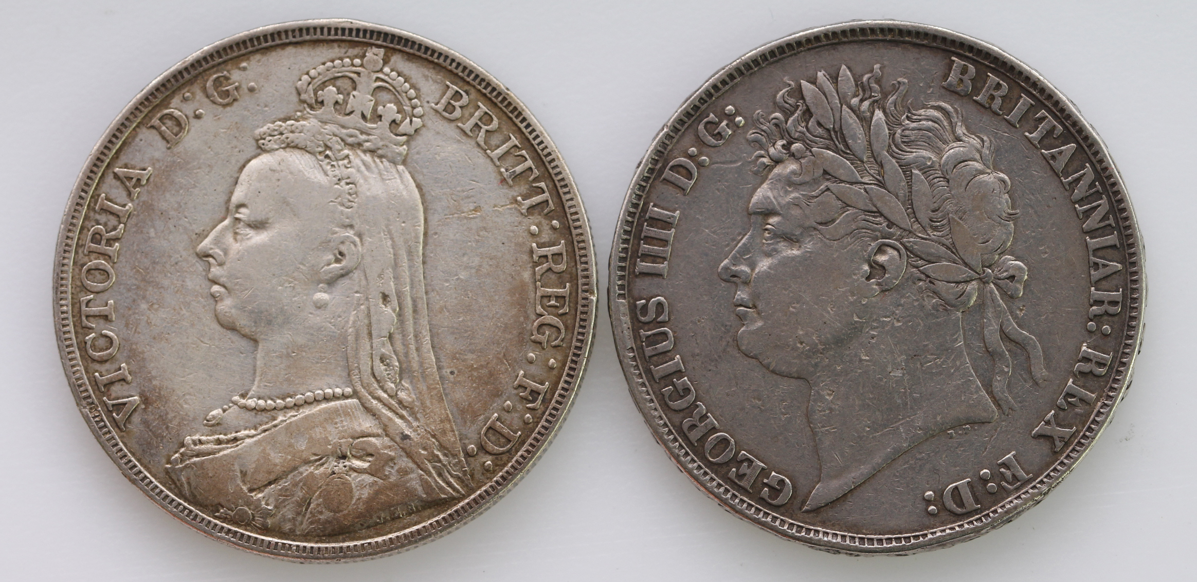 Crowns (2): 1821 Secundo Fine, and 1891 GF