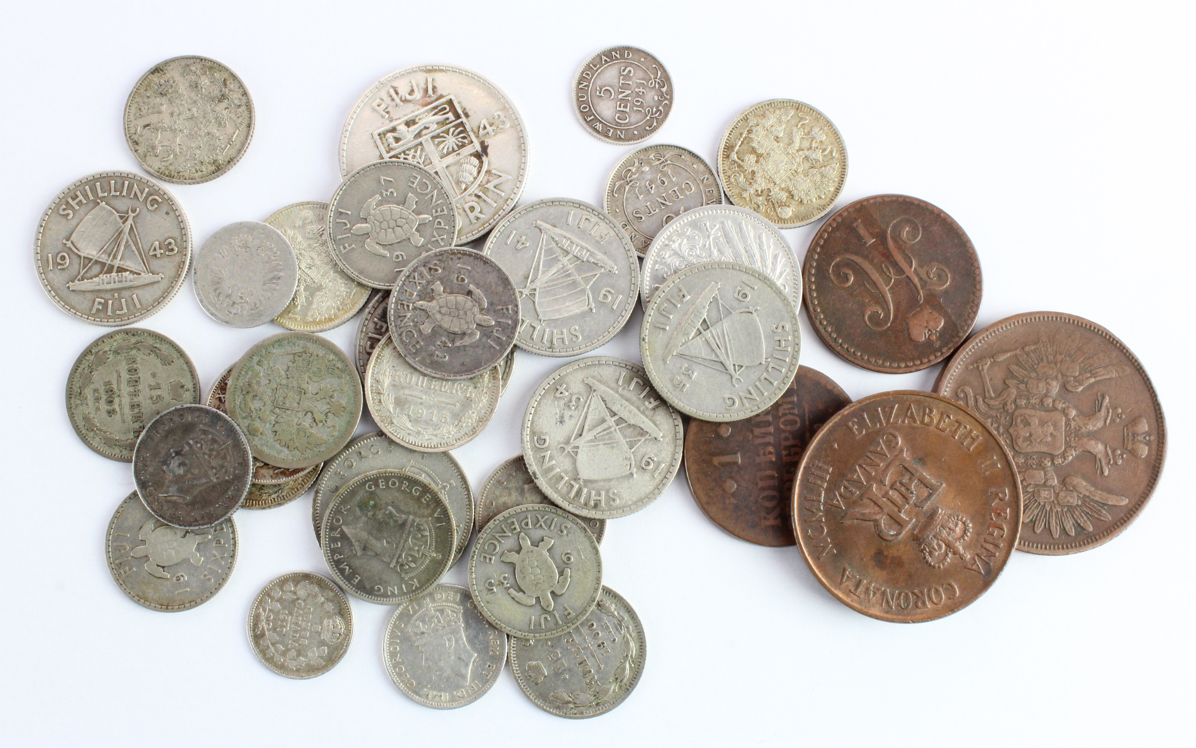 World Coins (34) mostly silver, noted Russian Empire, Fiji, Germany, Canada, Newfoundland. Mixed