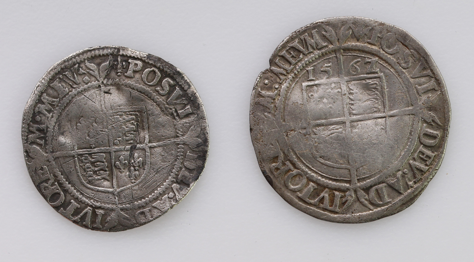Elizabeth I Silver Groats (2): First Issue, mm. Lis, S.2551, crinkled nF; and 1562/1 overdate mm.