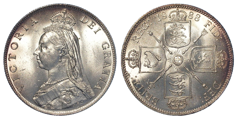 Florin 1888 with obverse die of 1887, choice frosty BU