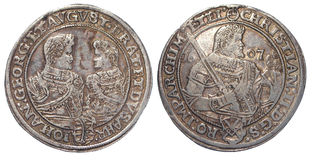 German State Saxony-Albertine silver Thaler 1607 HR, KM# 24, VF
