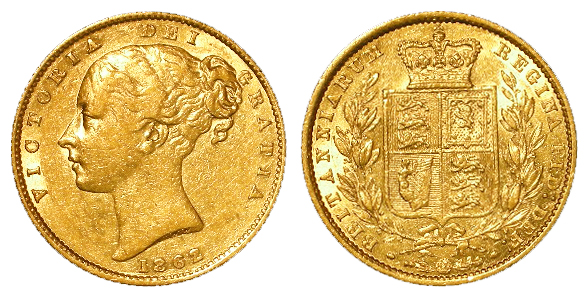 Sovereign 1862 wide date, VF