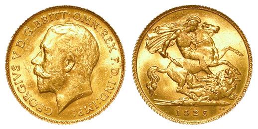 Half Sovereign 1925SA, Pretoria Mint, South Africa, UNC