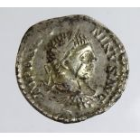 Roman Imperial: Elagabalus plated Denarius. Rev: Annona standing with two corn ears and