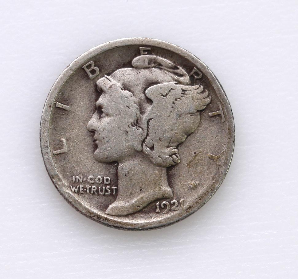 USA Dime 1921 no mintmark (scarce) VG