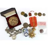 Tokens, medals, badges, copies etc (17), noted an Edward VII 1902 Coronation miniature photo album