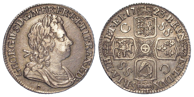 Shilling 1723 SSC, GVF, small mark below bust.