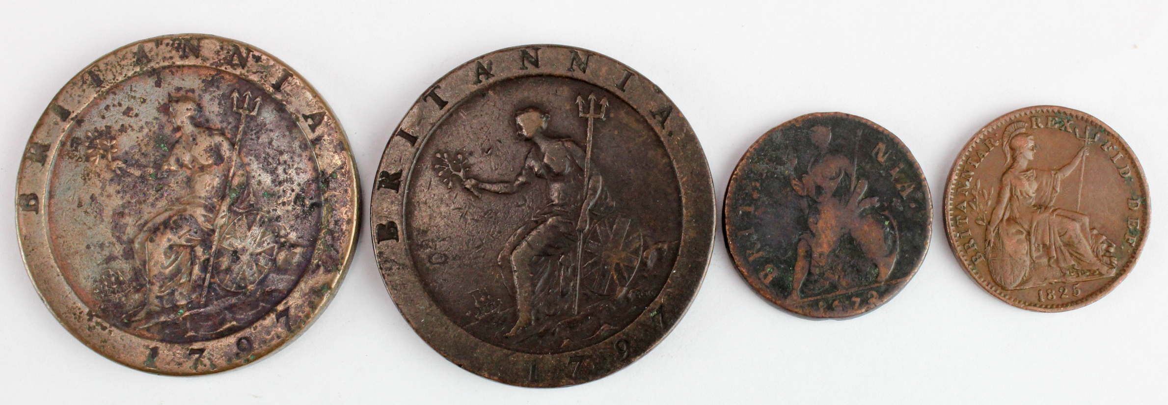 GB Copper (4): Cartwheel Pennies 1797 x2 Fine; Farthings: 1672 VG, and 1825 VF - Image 2 of 2