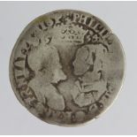 Philip and Mary silver Shilling 1554 with Spanish title, S.2500, 5.33g, Fair.