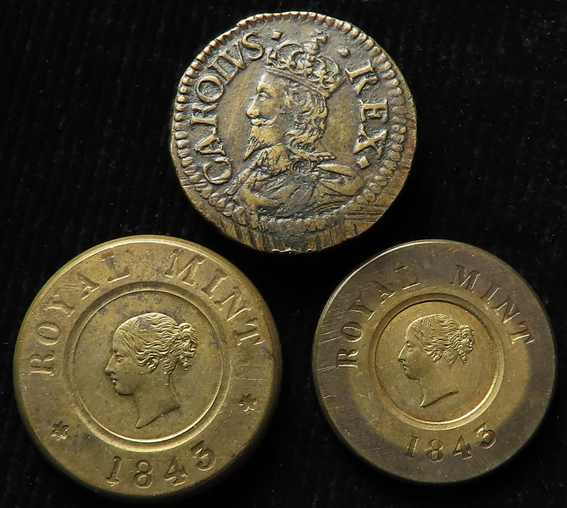 Coin Weights (3) - an excellent Charles I portrait weight for XXs, GVF, and two Queen Victoria,