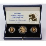 Three coin set 1988 (Two Pounds, Sovereign & Half Sovereign) FDC boxed as issued