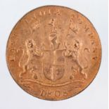 India, East India Company copper 20 Cash 1808, light water damage EF with lustre (a shipwreck