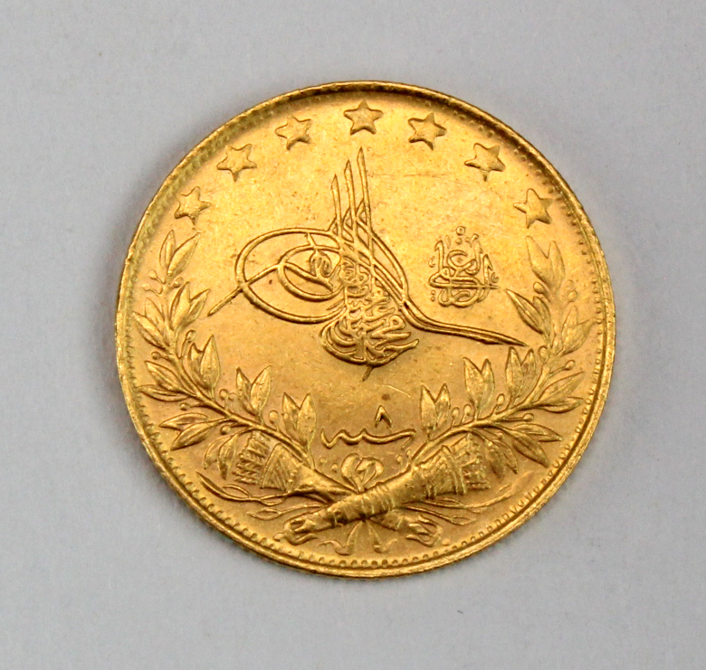 Turkey gold 100 Kurush AH1327//8, EF, light scratch. (0.2127 troy oz AGW) - Image 2 of 2