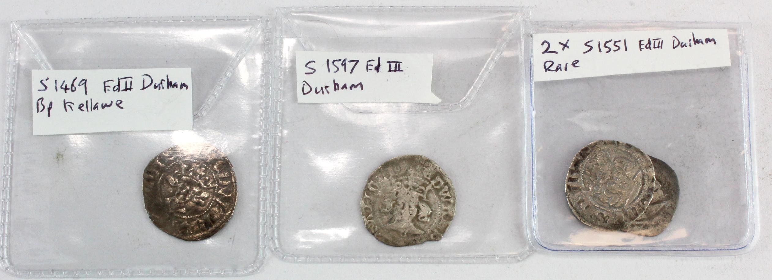 Edward II & III, Durham Mint Pennies (4): Ed II, Bishop Kellawe, crosier on rev., type 13, S.1469,