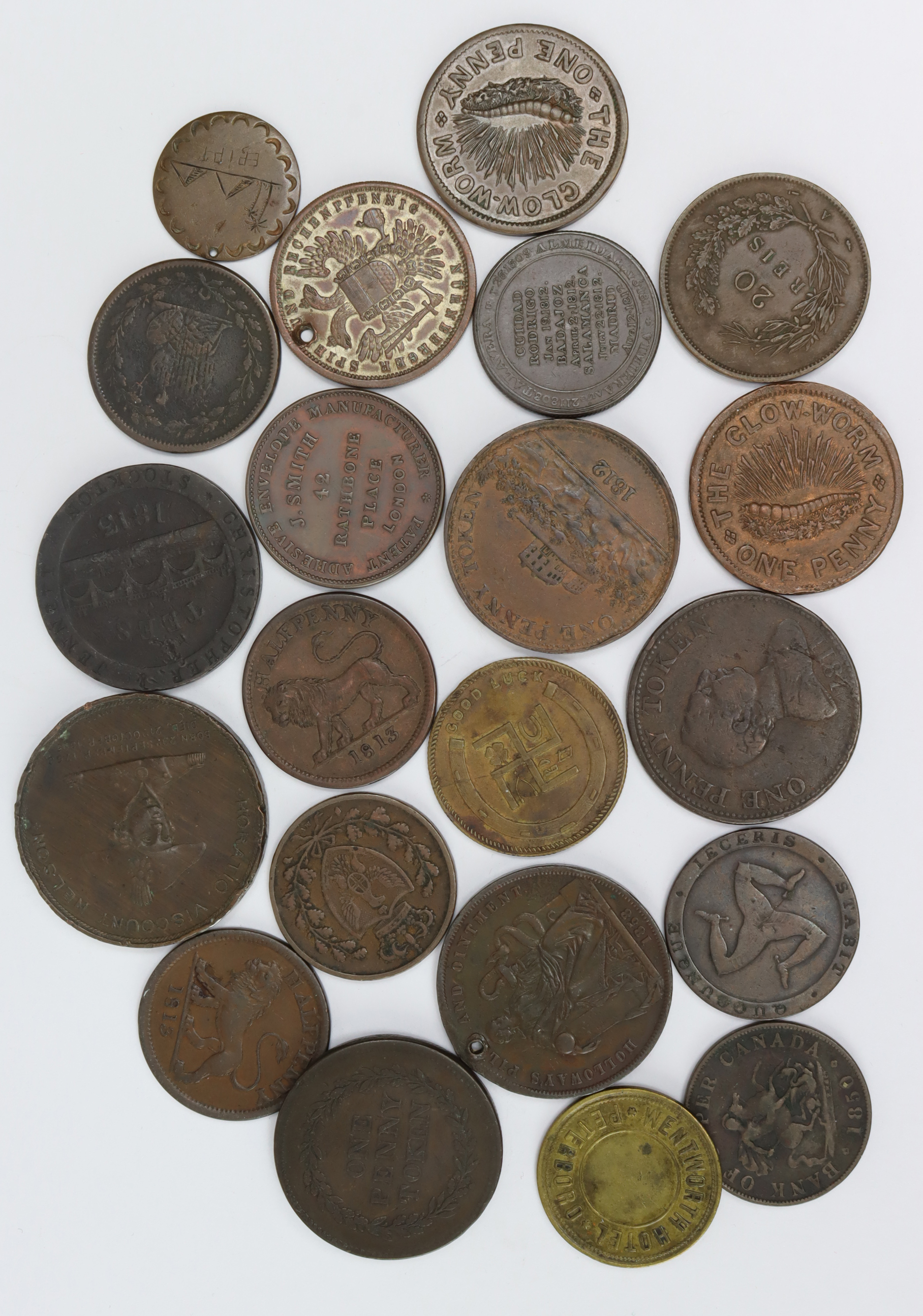 Tokens, Medals & World Copper Coins, 19thC (21) noted Nottingham J.M. Fellows Penny 1812 VF, 'Patent