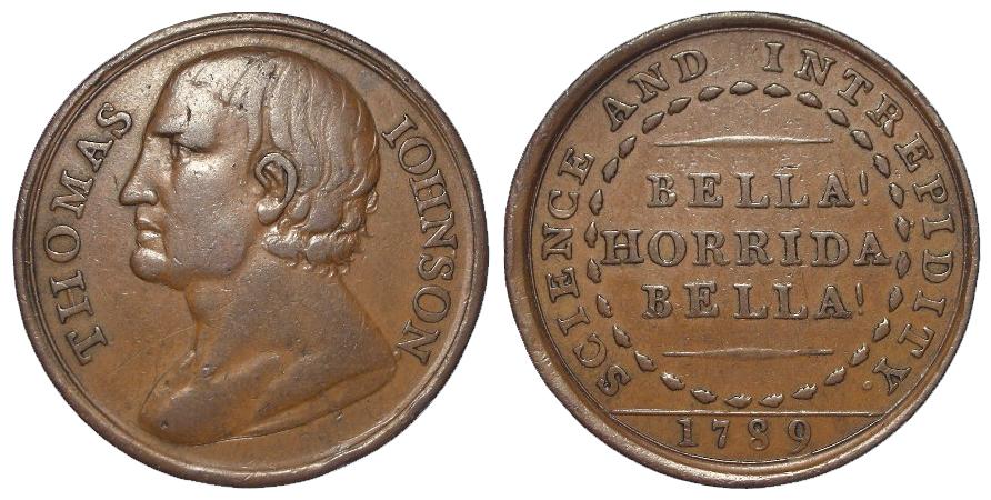 Token, 18thC: Thomas Johnson (bare knuckle boxer) Penny 1789, D&H Warwickshire #12, very rare, VF,