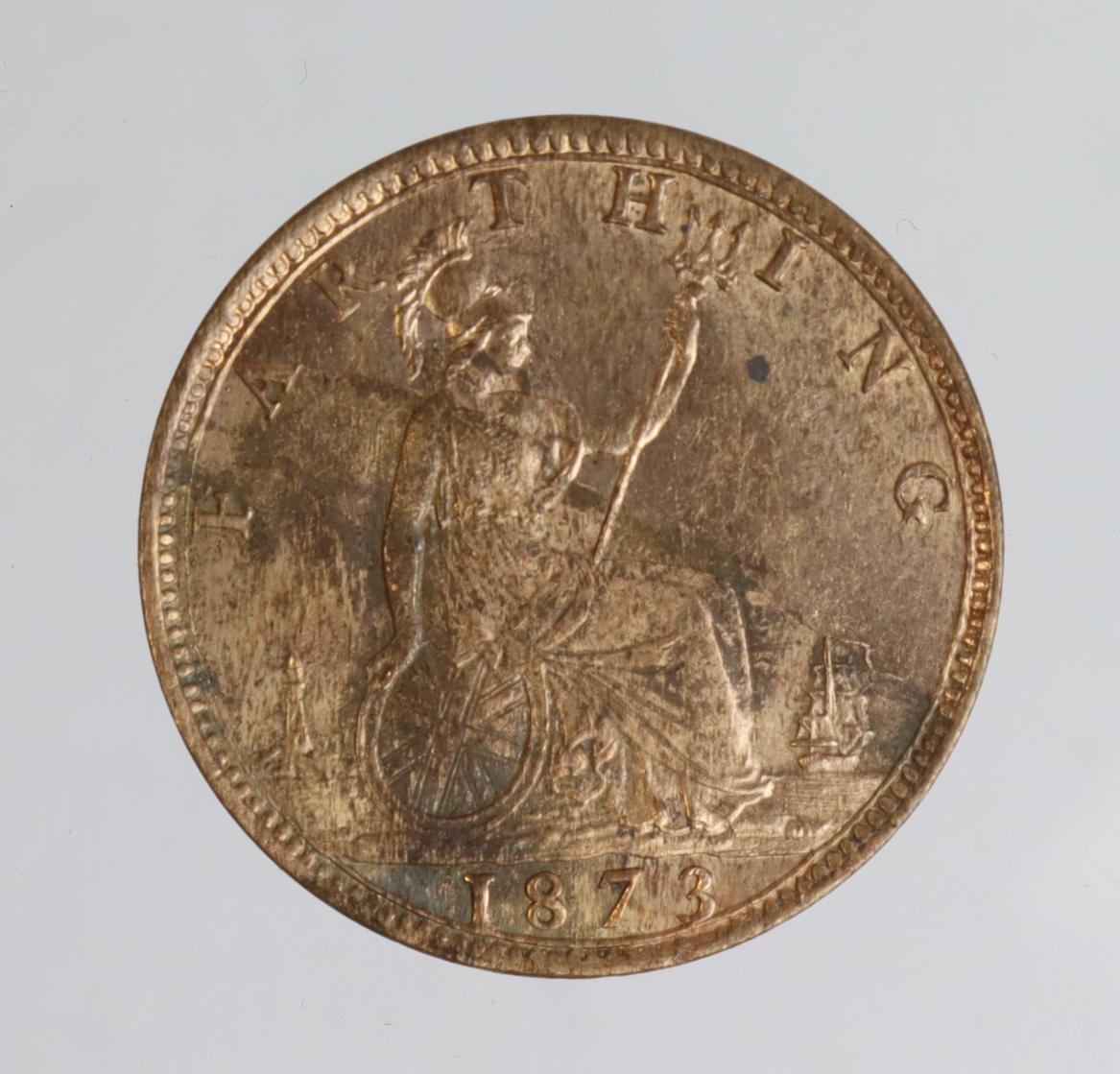 Farthing 1873 near BU, patchy tone rev. - Image 2 of 2