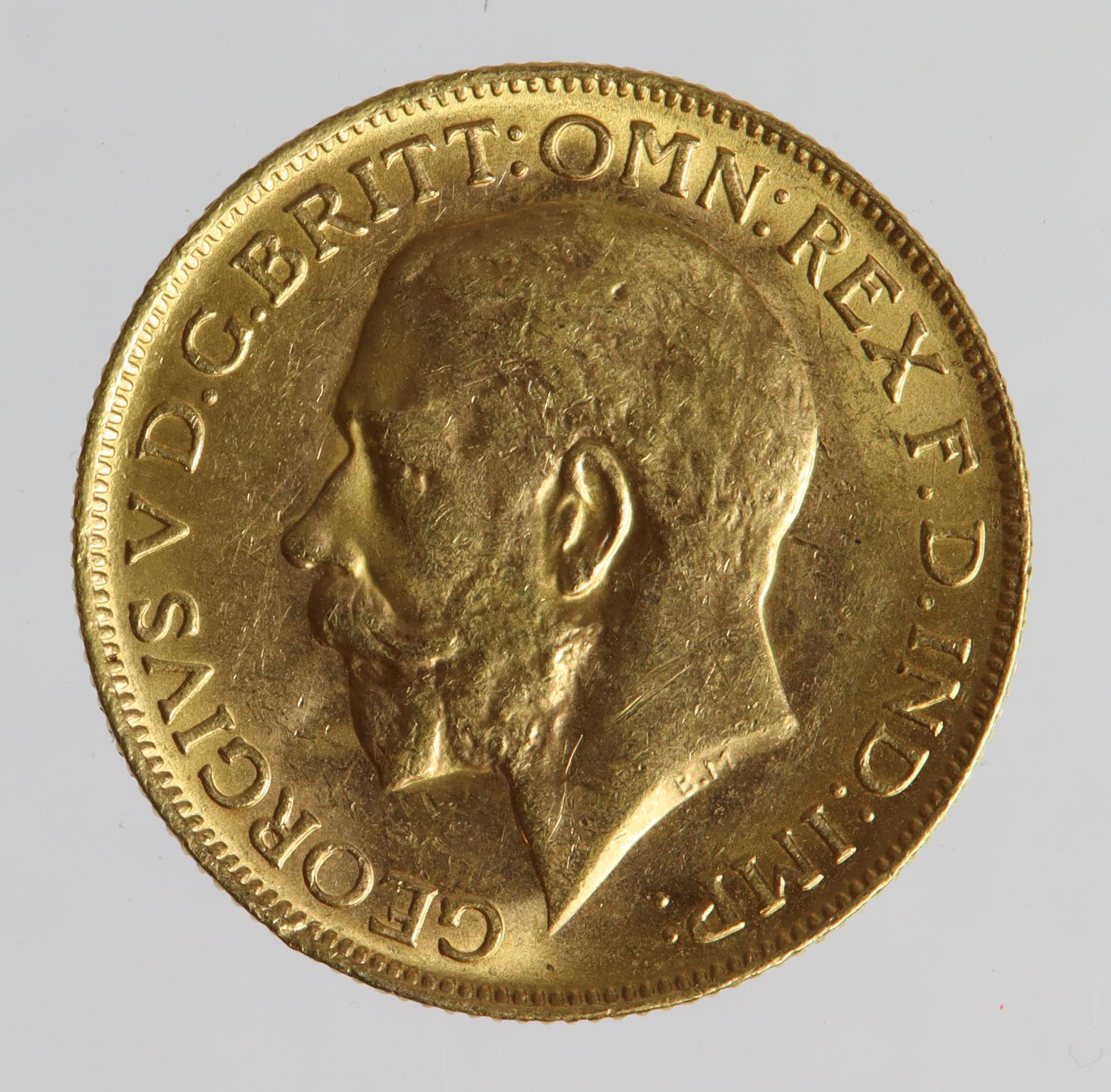 Sovereign 1919P, Perth Mint, Australia, GEF with a few edge nicks.