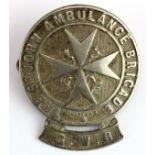 Great Western Railway white metal The St. John Ambulance Brigade badge, 2 lugs & split pin to