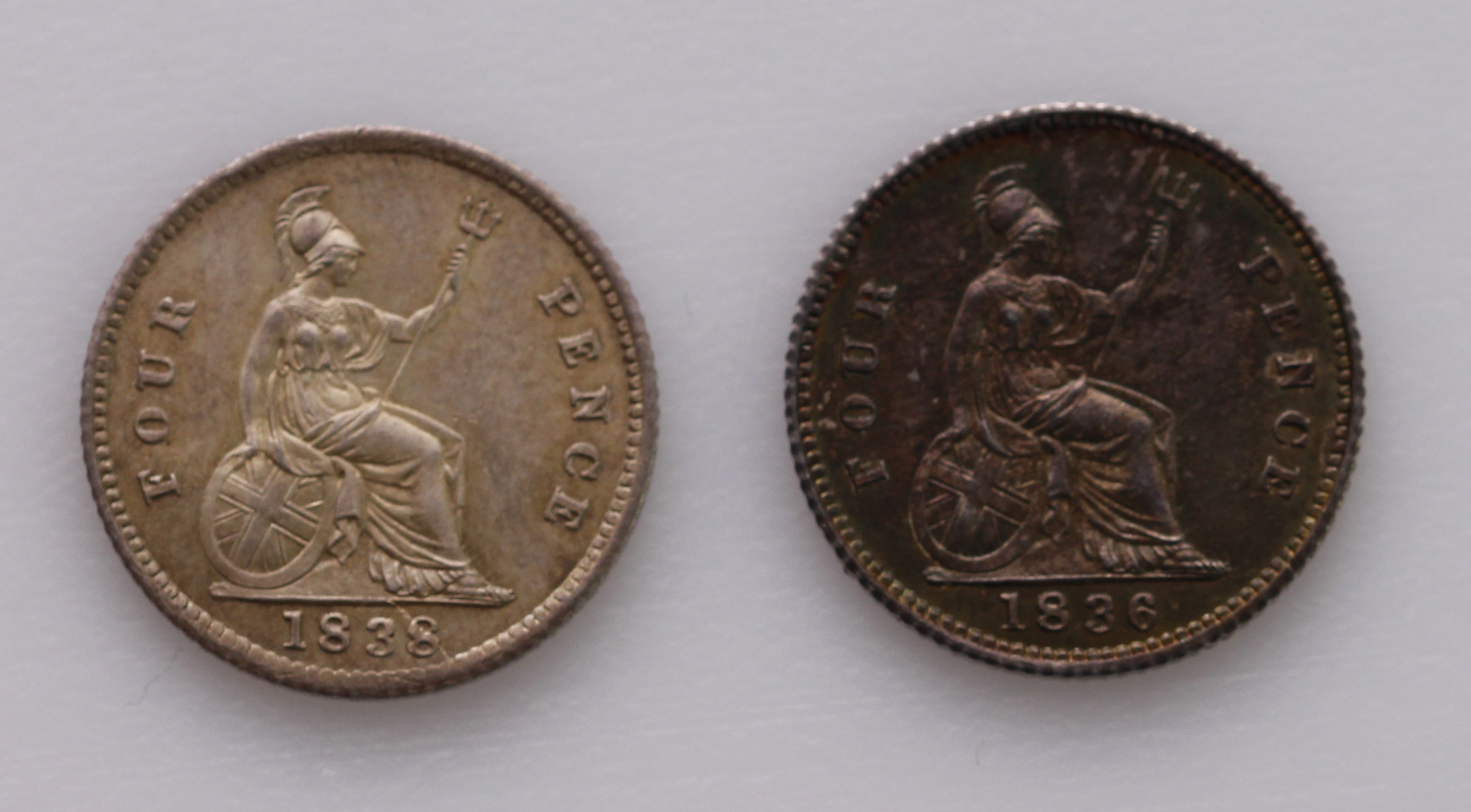 Groats (2): 1836 laquered GEF, and 1838 EF - Image 2 of 2
