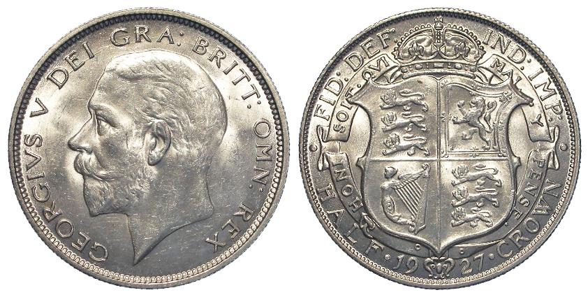 Halfcrown 1927 S.4032, BU
