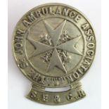 South Eastern & Chatham Railway white metal The St. John Ambulance Assoc. badge, has 2 lugs to