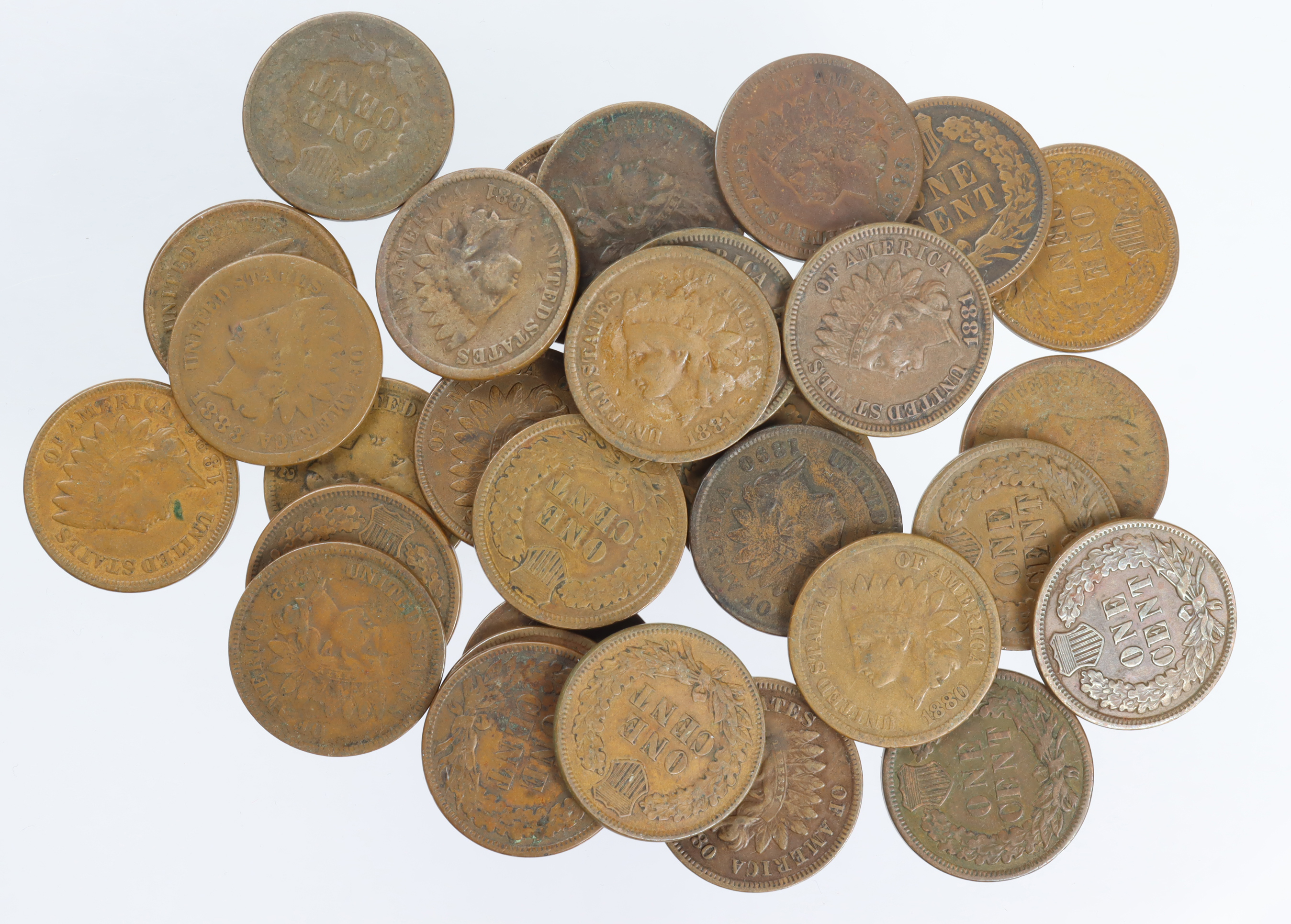 USA Indian Head Cents (31) 1864 to 1902, mostly 1880s, mixed grade.