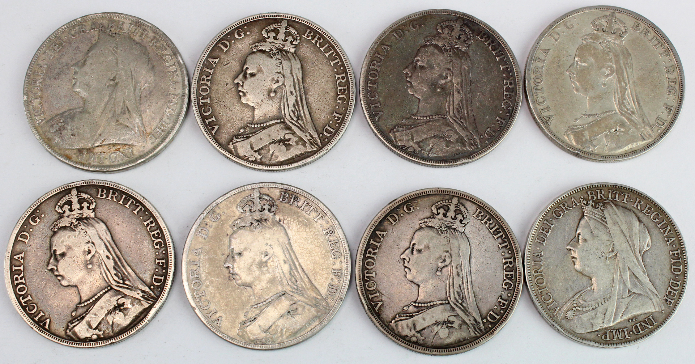 GB Crowns (8): 1887 to 1898 LXII, various, Fair to Fine.