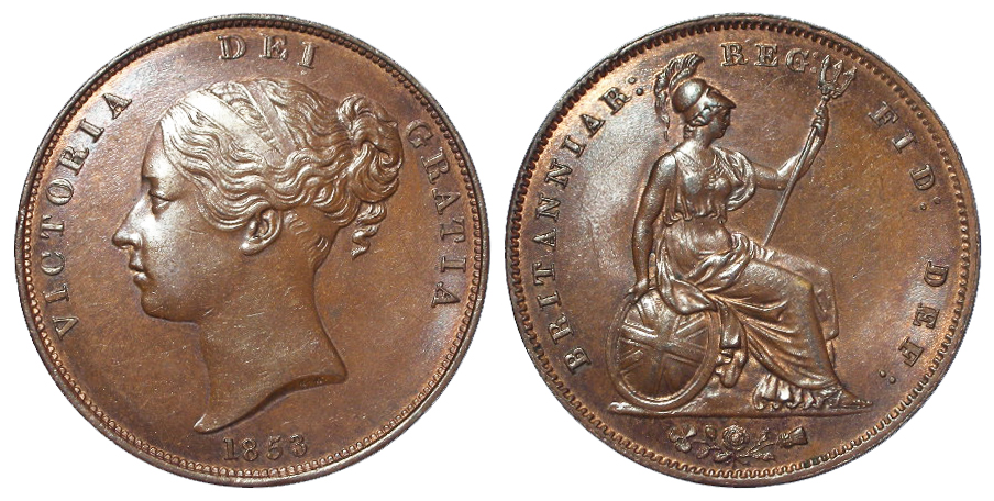 Penny 1853 OT, AU trace lustre.