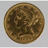 USA gold Five Dollars 1893 GVF