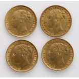 Sovereigns (4) All St George Sydney Mint. 1872, 1882(2) & 1884. nVF - GVF