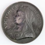 British Commemorative Medal, pewter d.77.5mm: Queen Victoria Diamond Jubilee 1897 large unsigned