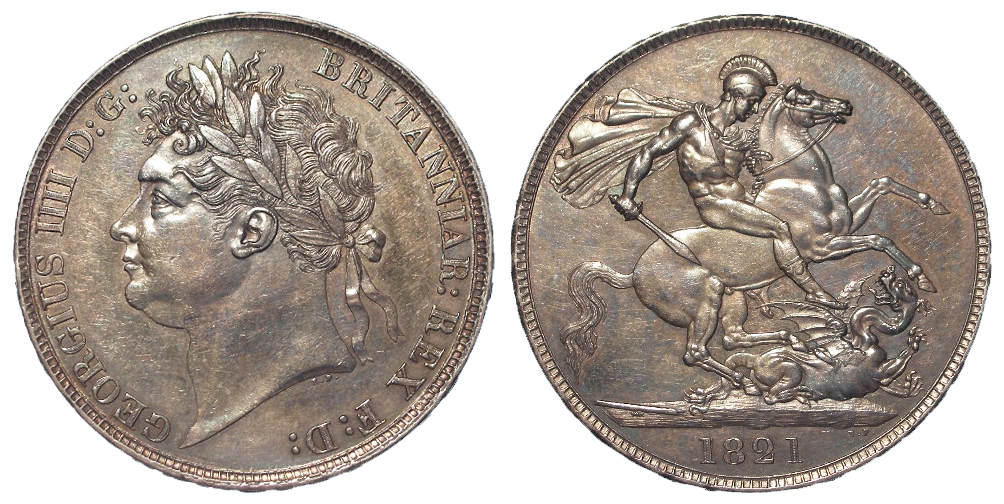 Crown 1821 Secundo, S.3805, toned EF