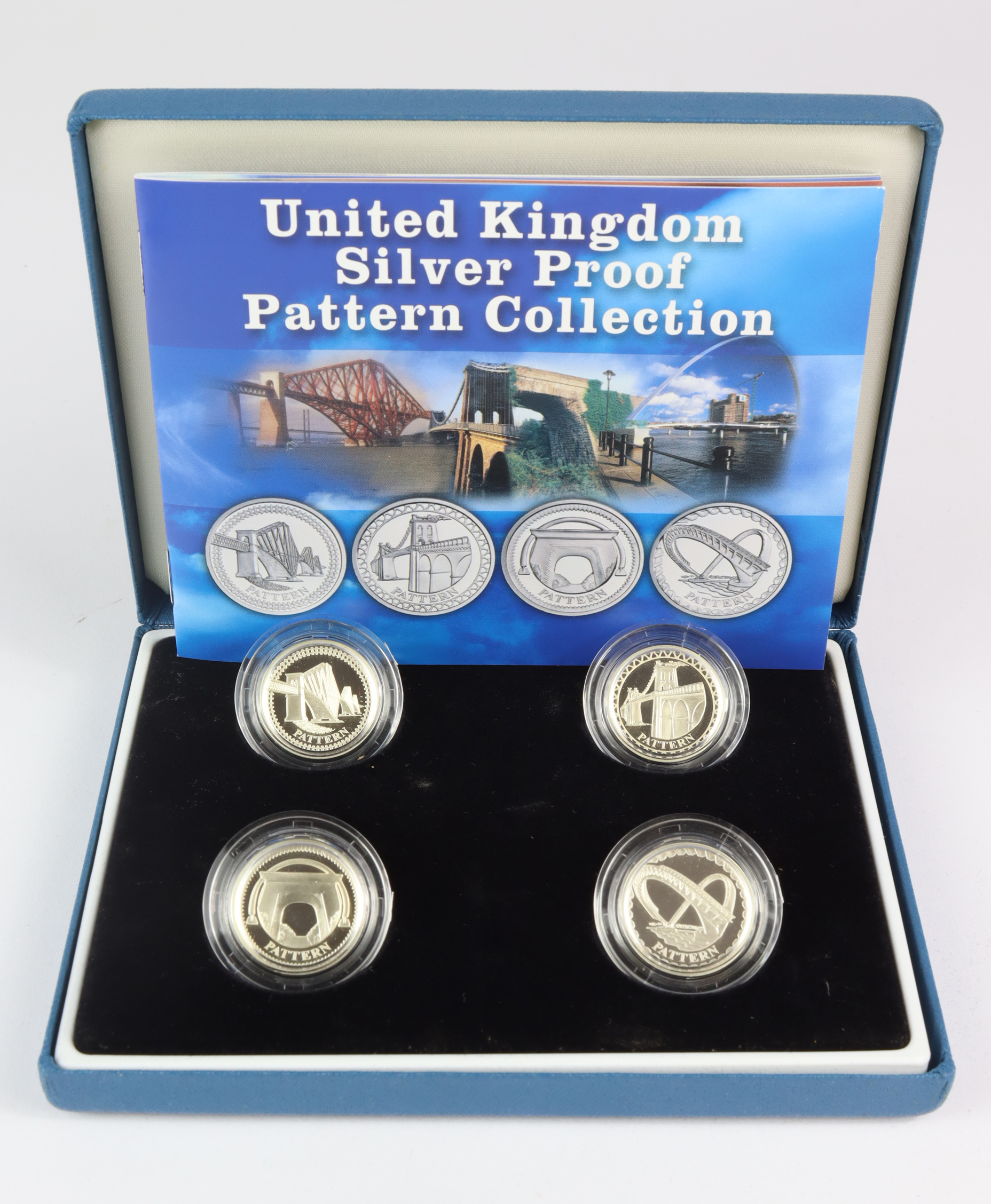 """One Pound Silver Proof four coin set 2004 - 2007 """"Bridges"""" FDC in the blue case of issue"""