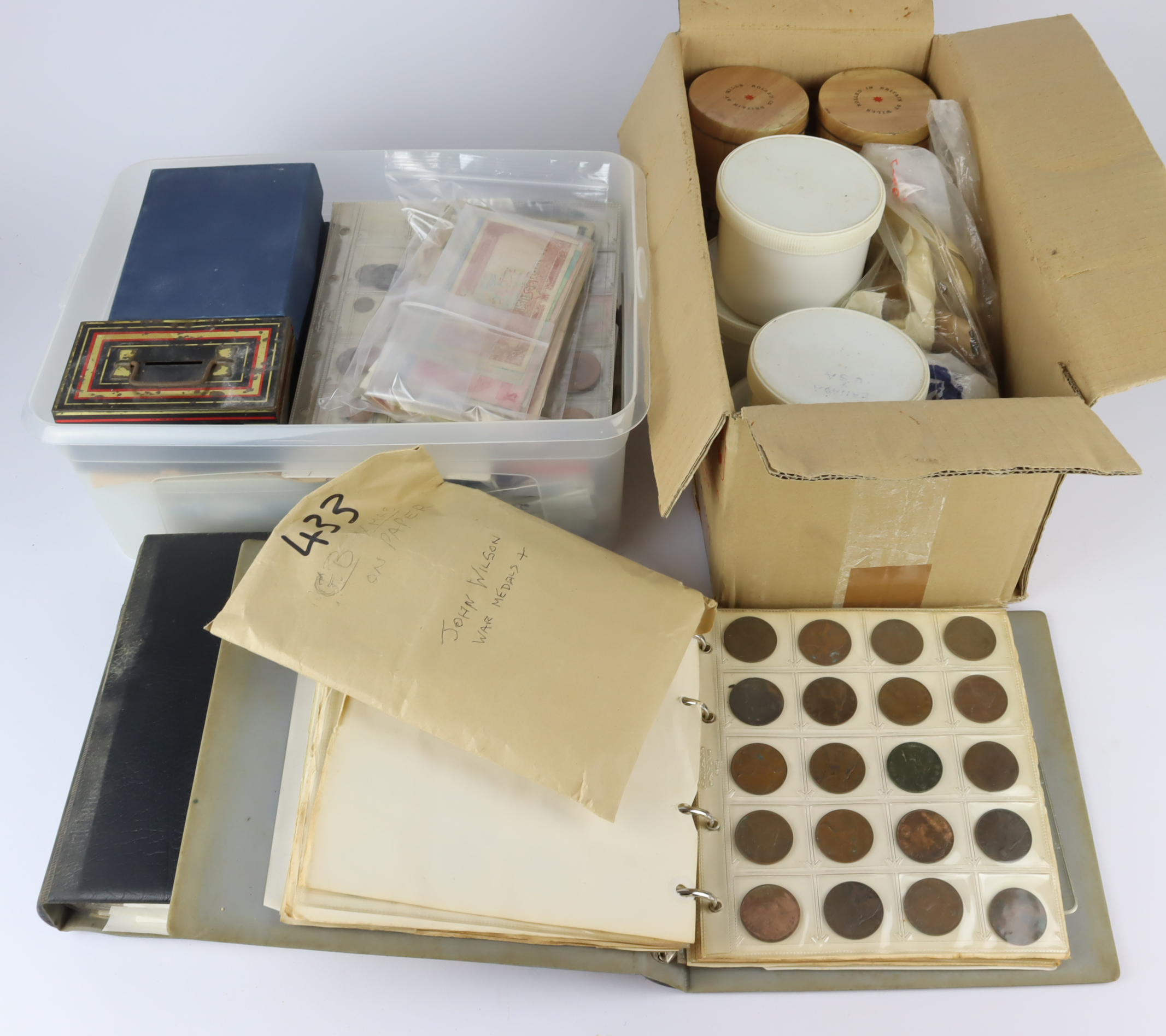 GB & World coins, tokens, medals & misc. A large accumulation in a plastic tub and 2 albums, ancient