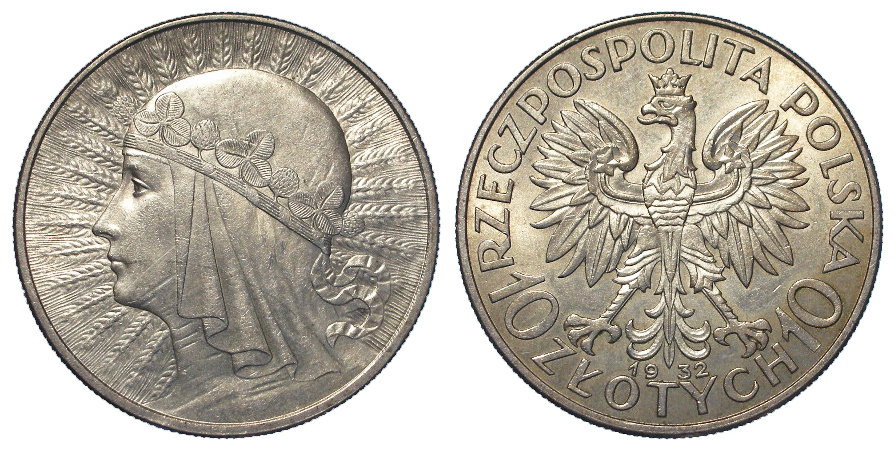 Poland silver 10 Zloty 1932 AU