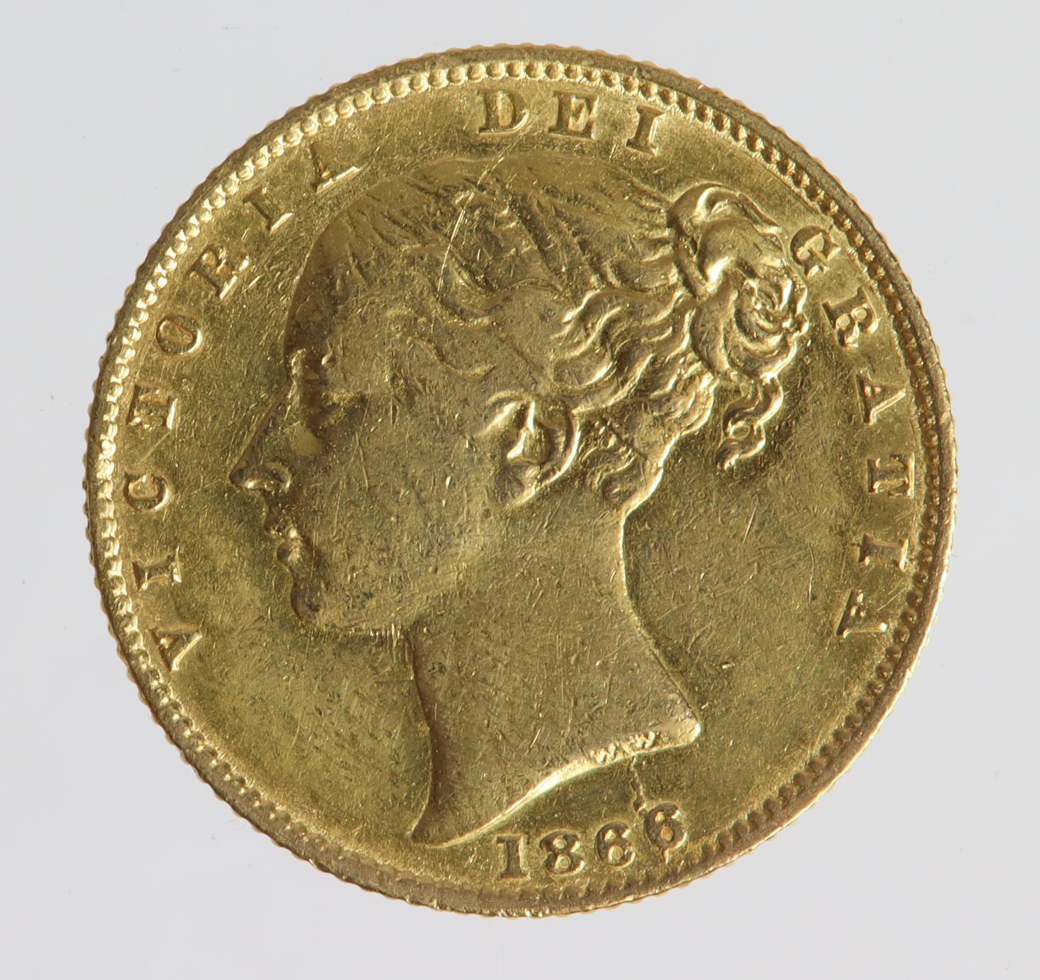 Sovereign 1866 die no. 9, cleaned aVF