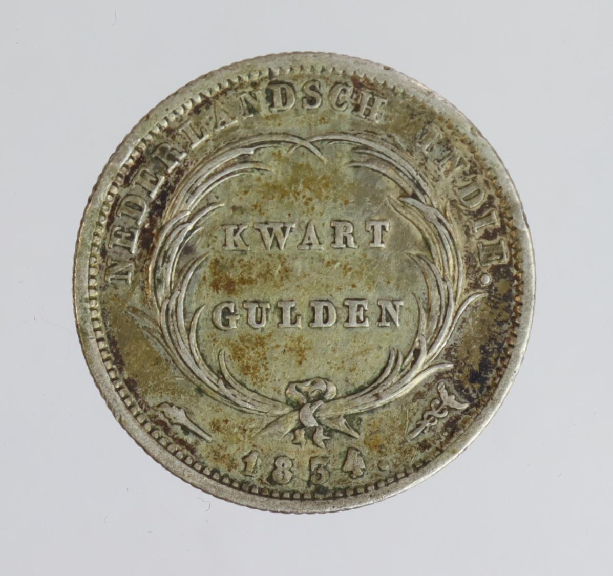 Netherlands East Indies 1/4 Gulden 1834 VF-GVF - Image 2 of 2