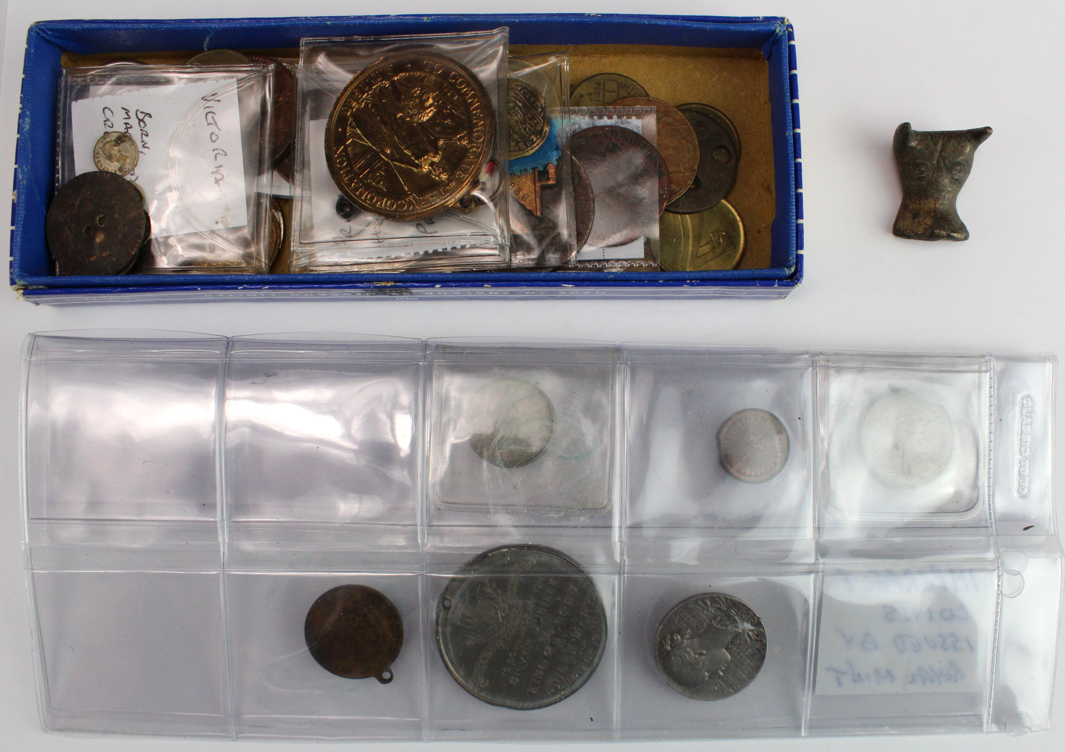 Tokens, medals, error coins etc: 17th-20thC, one silver medal noted, also an artefact: Bull's head