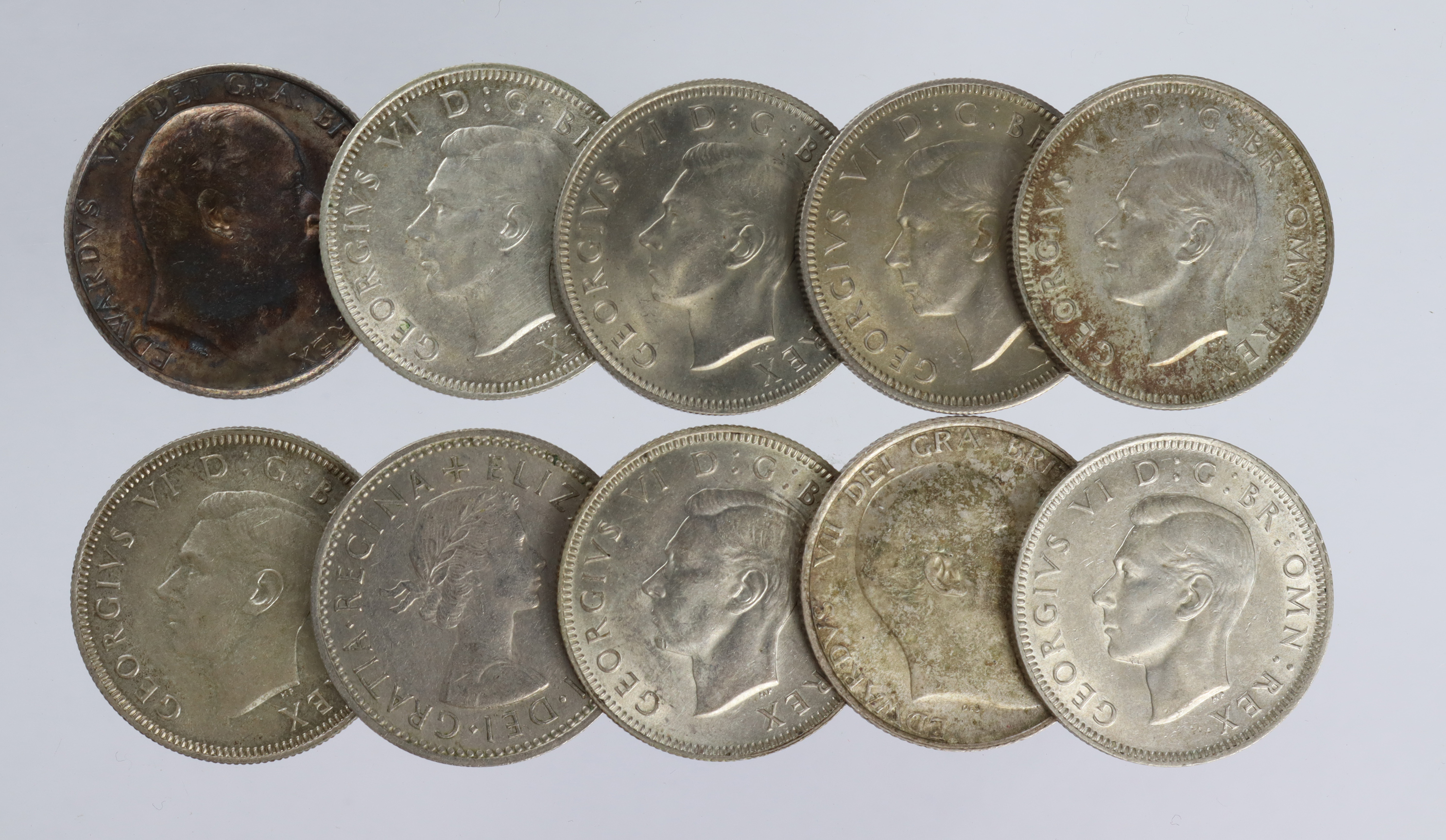 GB Shillings (10): 1907 to 1961(s) various, EF to UNC