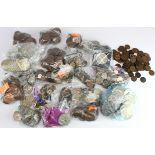 GB & World Coins; a large accumulation of GB predecimal in a box, various sorted into bags, all