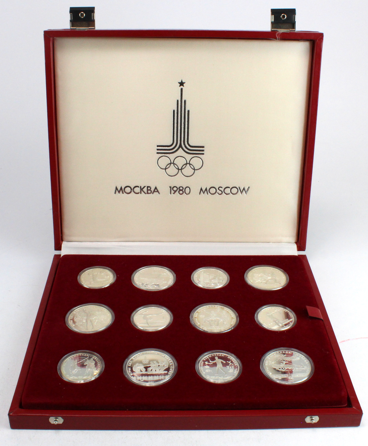 Russia, large set of 28x silver proofs for the Moscow Olympics 1980, aFDC cased with cert.