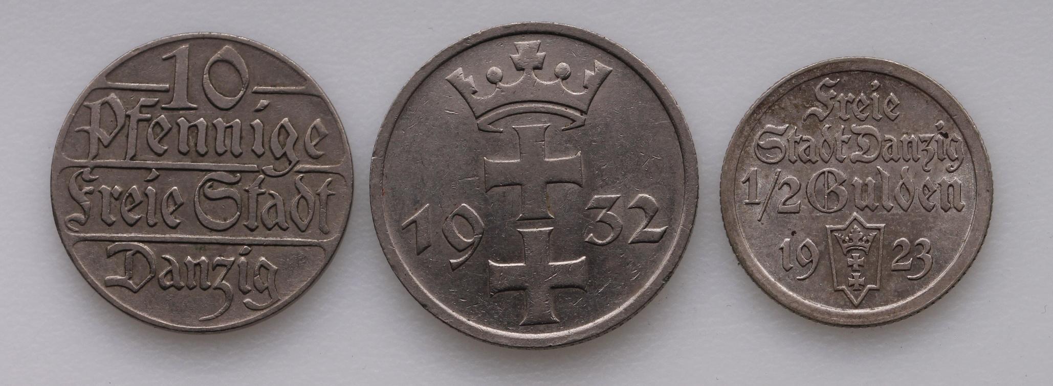 Danzig (3): 10 Pfennig 1923 VF, 1/2 Gulden 1923 EF, and 1 Gulden 1932 nEF - Image 2 of 2