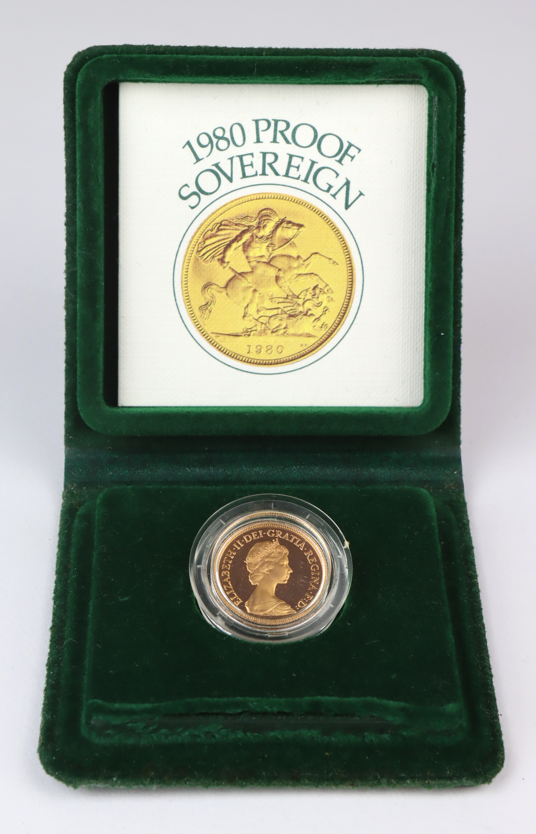 Sovereign 1980 Proof FDC boxed as issued