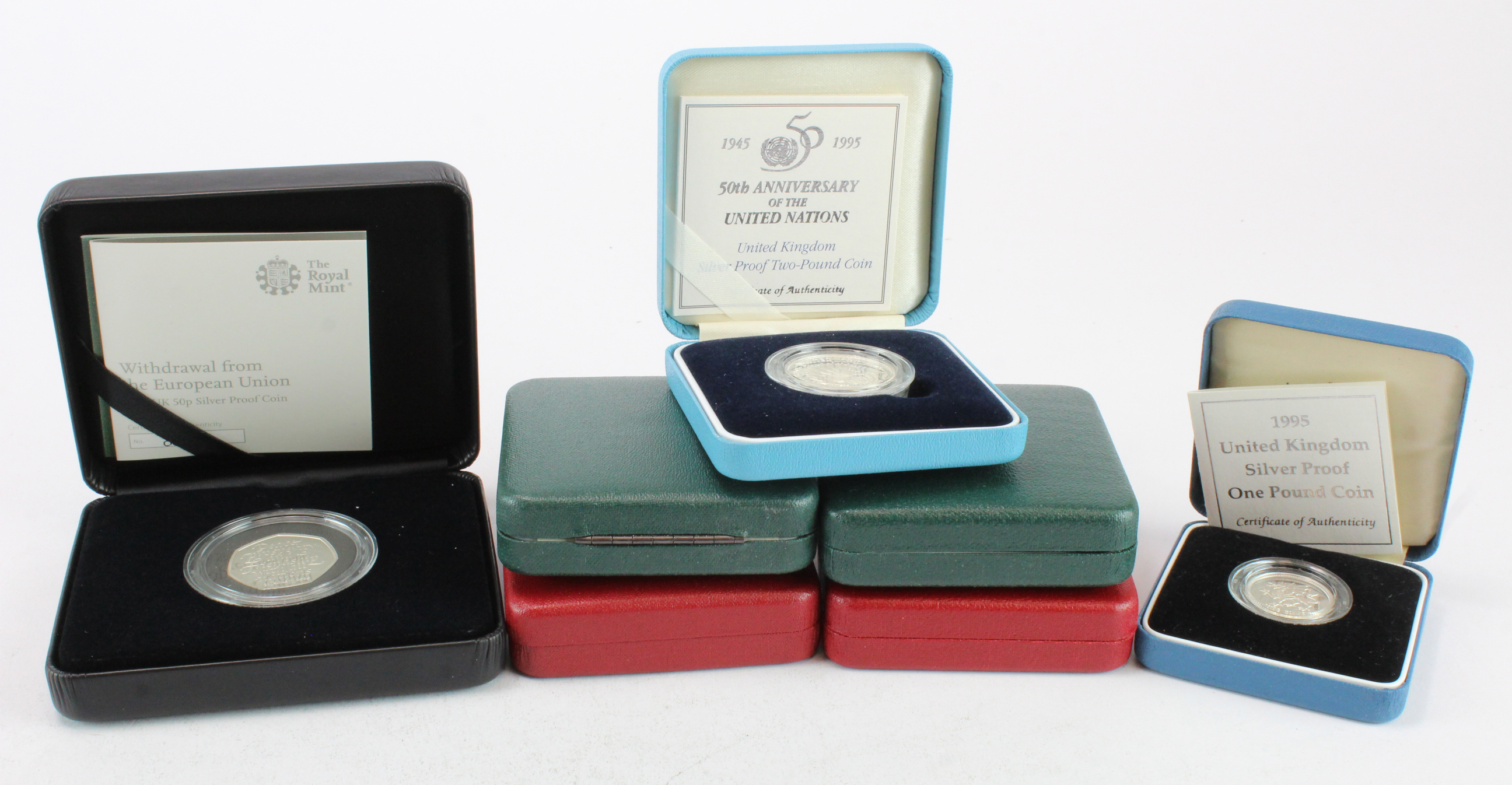 GB Royal Mint cased silver proofs (7): Dove & UN £2's 1995, £2 1997, £2 2004, £1 1995, Scouting