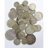 Indian silver coins (39) 19th-20thC including Hyderabad, mixed grade.