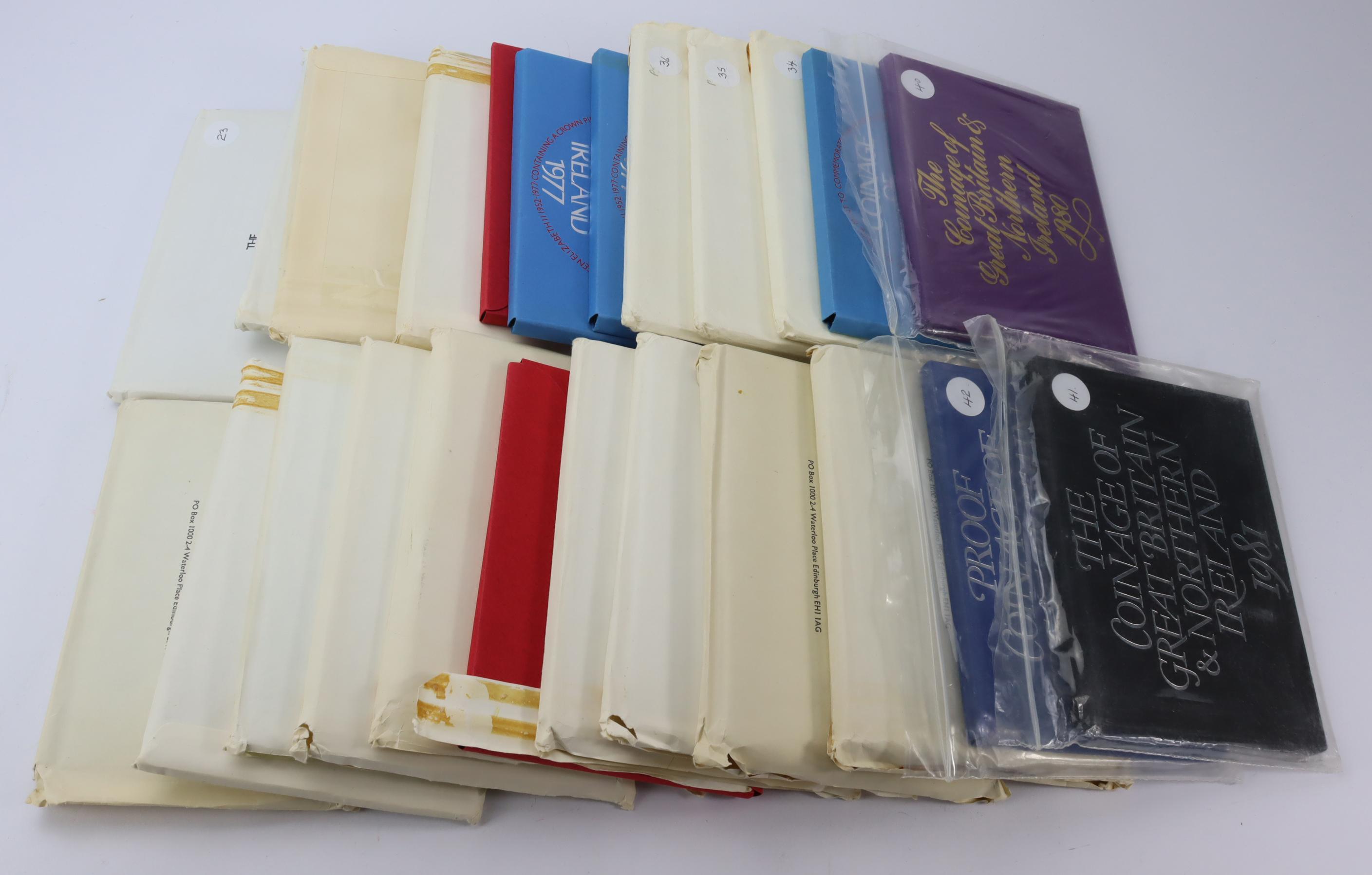 GB Proof Sets (24) all flat packs. 1970x3, 71x3, 72x2, 73x2, 74x2, 75, 76x2, 77x6, 80, 81 & 1982.