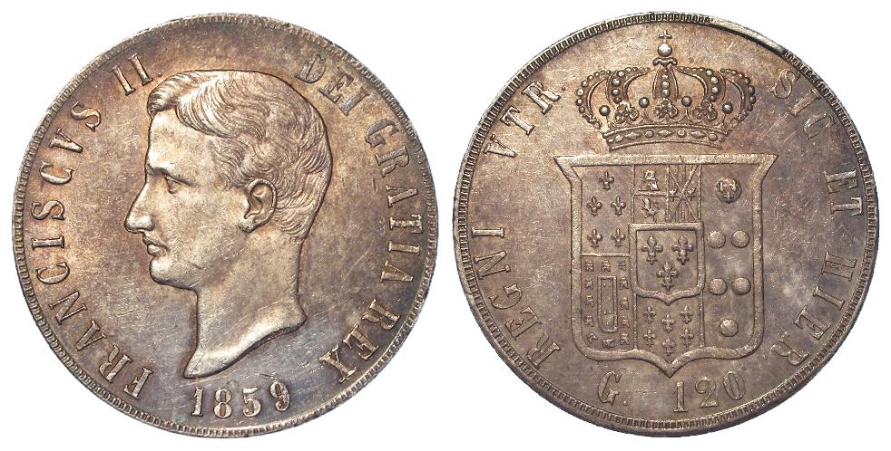 Italian State Naples & Sicily silver 120 Grana 1859, 27.5g, lightly toned EF